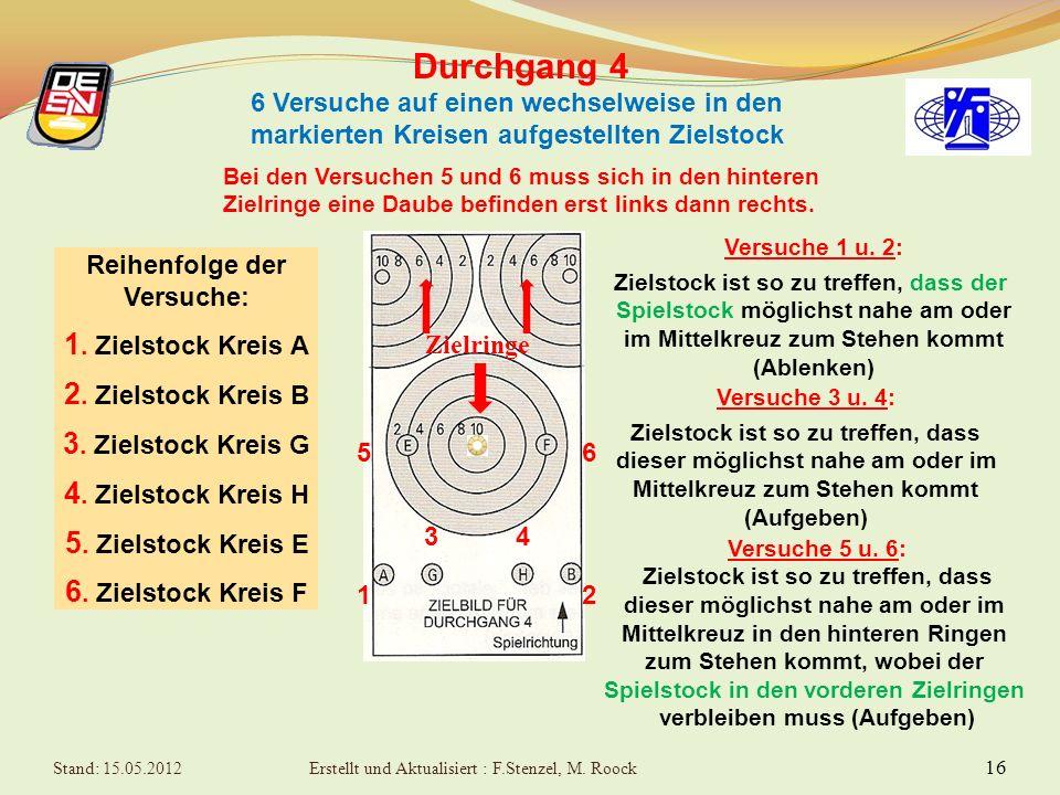 15 Durchgang 3 Begrenzungslinie des Zielfeldes zählt mit Wertung hier: 2 Punkte Projektion des Stahlringes ist für Wertung maßgebend !! Stand: 15.05.2