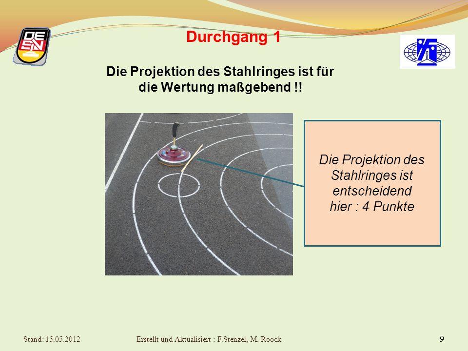 8 Durchgang 1 6 Versuche in die mittleren Zielringe, wobei der Spielstock möglichst nahe an das Mittel- Kreuz kommen soll Die Ringe zählen von Außen n