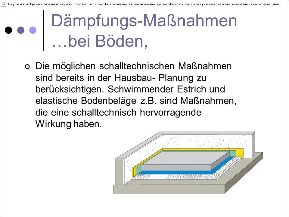 Dämpfungs-Maßnahmen …bei Böden, Die möglichen schalltechnischen Maßnahmen sind bereits in der Hausbau- Planung zu berücksichtigen.