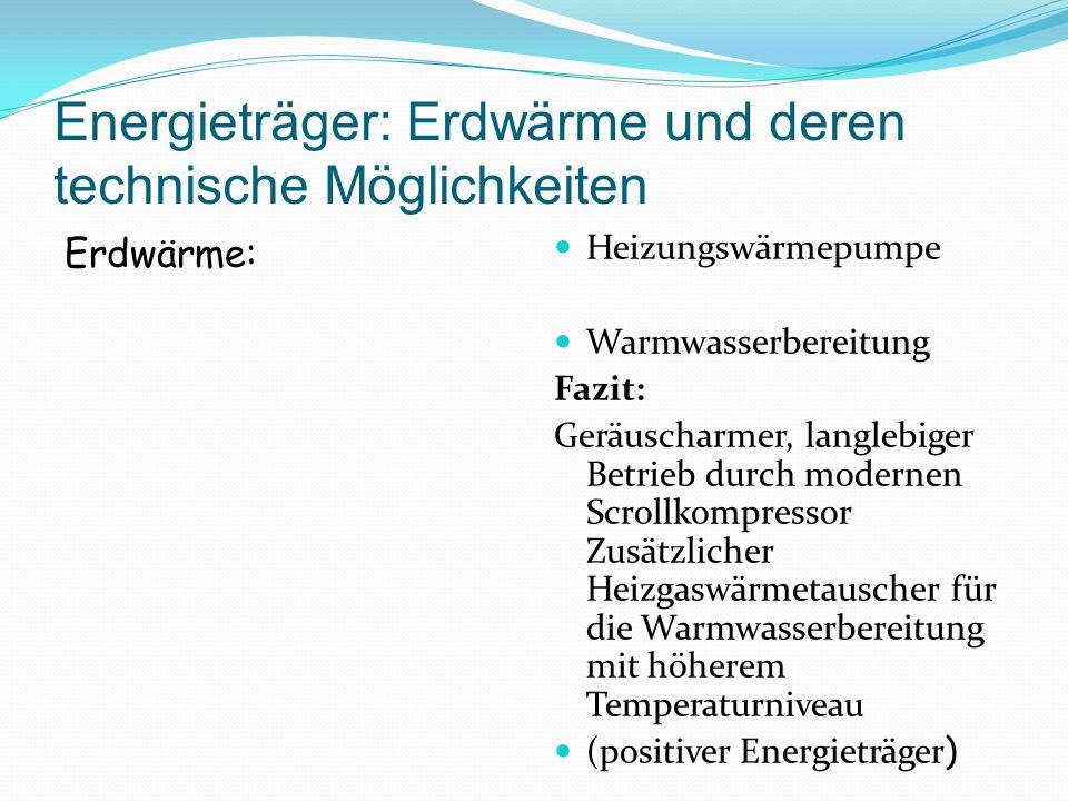 Energieträger: Erdwärme und deren technische Möglichkeiten Erdwärme: Heizungswärmepumpe Warmwasserbereitung Fazit: Geräuscharmer, langlebiger Betrieb