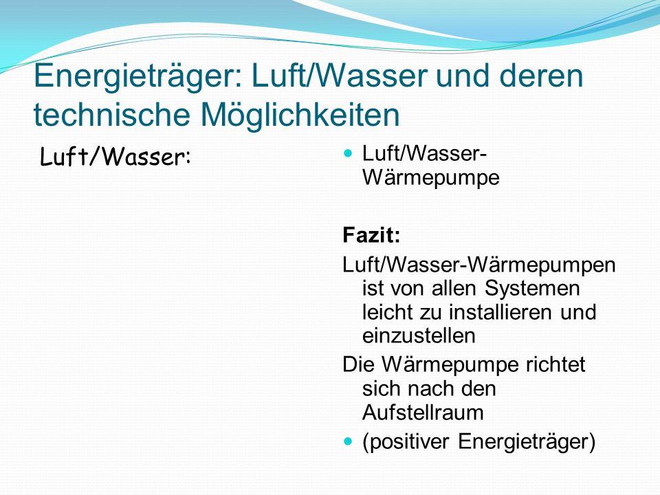 Energieträger: Luft/Wasser und deren technische Möglichkeiten Luft/Wasser: Luft/Wasser- Wärmepumpe Fazit: Luft/Wasser-Wärmepumpen ist von allen System