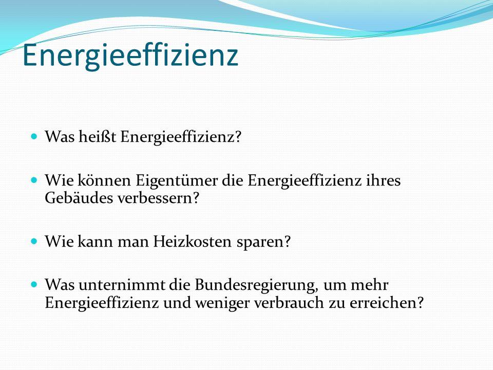 Energieeffizienz Was heißt Energieeffizienz? Wie können Eigentümer die Energieeffizienz ihres Gebäudes verbessern? Wie kann man Heizkosten sparen? Was