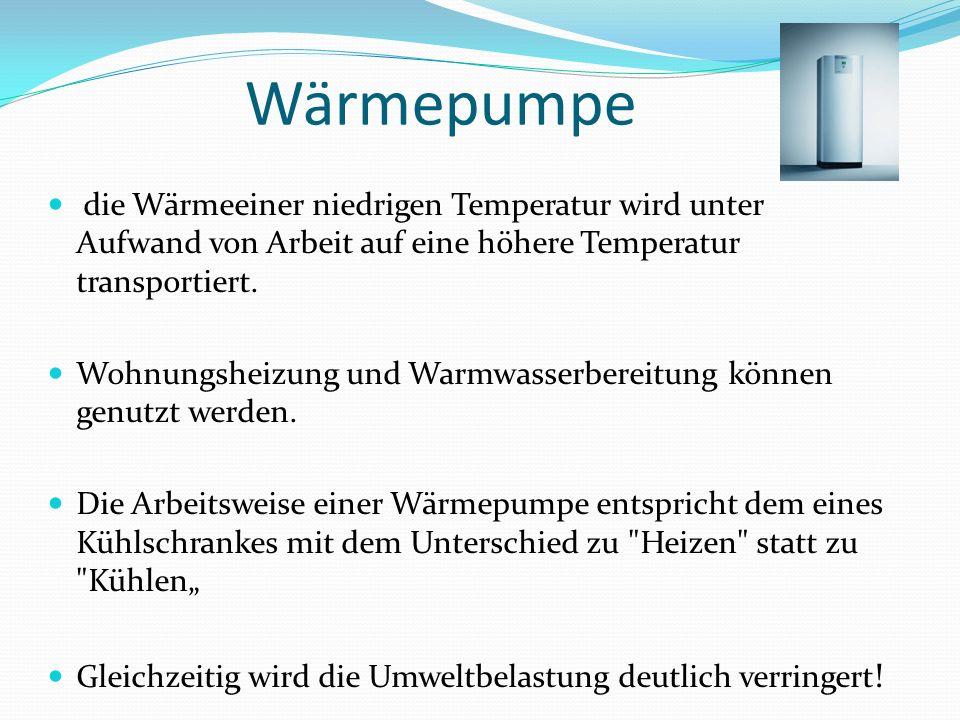 Wärmepumpe die Wärmeeiner niedrigen Temperatur wird unter Aufwand von Arbeit auf eine höhere Temperatur transportiert. Wohnungsheizung und Warmwasserb