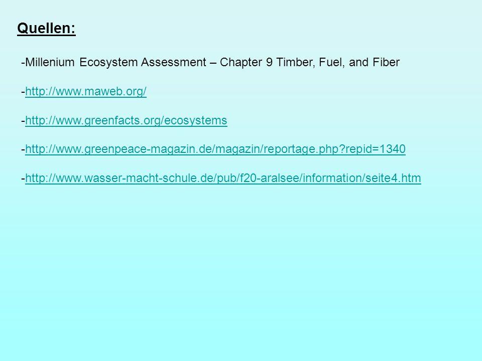 Quellen: -Millenium Ecosystem Assessment – Chapter 9 Timber, Fuel, and Fiber -http://www.maweb.org/http://www.maweb.org/ -http://www.greenfacts.org/ec