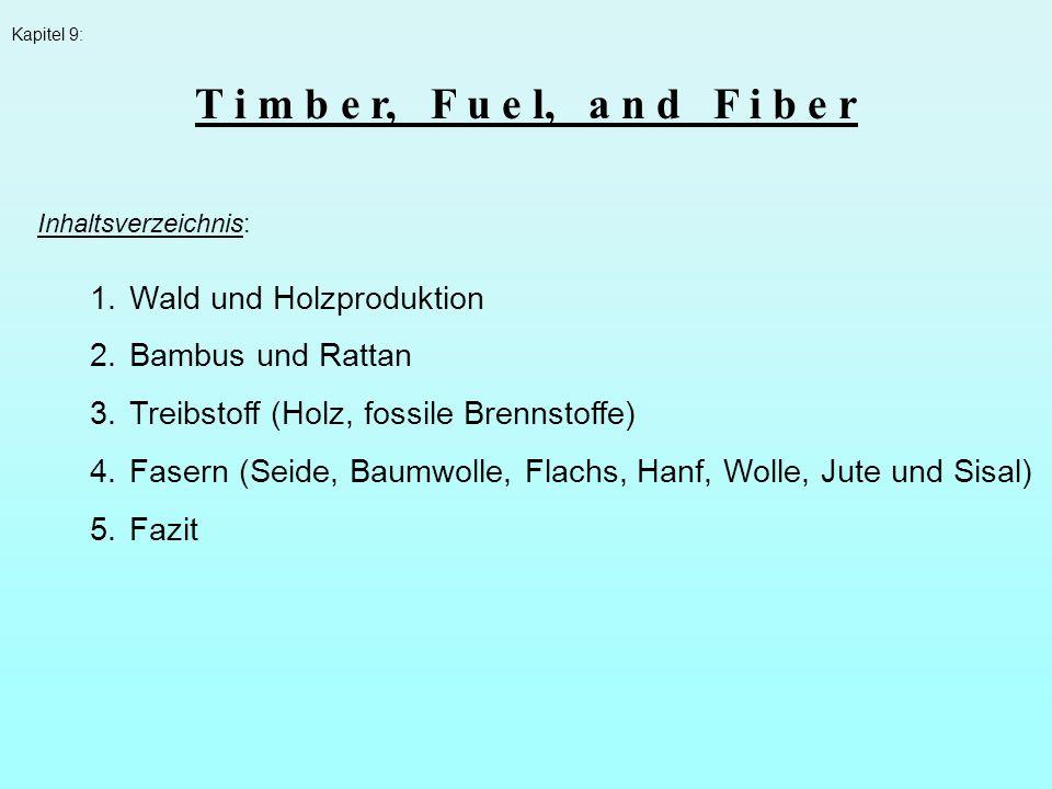 Kapitel 9: Inhaltsverzeichnis: 1.Wald und Holzproduktion 2.Bambus und Rattan 3.Treibstoff (Holz, fossile Brennstoffe) 4.Fasern (Seide, Baumwolle, Flac
