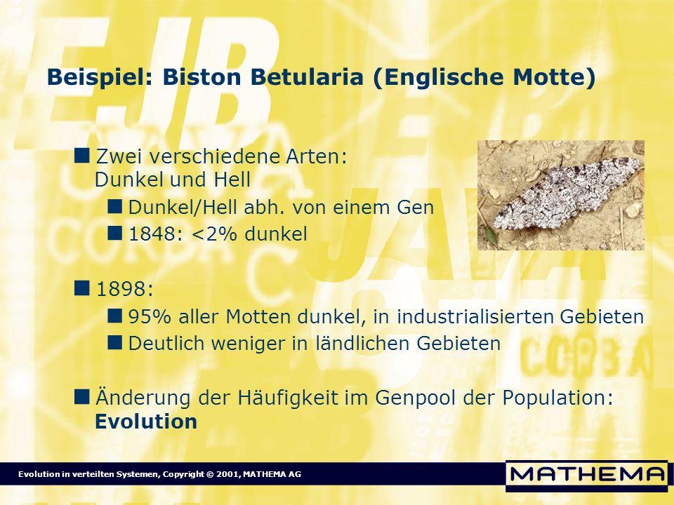 Evolution in verteilten Systemen, Copyright © 2001, MATHEMA AG Beispiel: Biston Betularia (Englische Motte) Zwei verschiedene Arten: Dunkel und Hell D