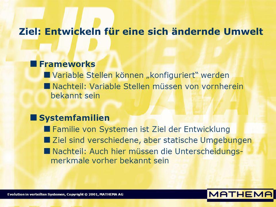Evolution in verteilten Systemen, Copyright © 2001, MATHEMA AG Ziel: Entwickeln für eine sich ändernde Umwelt Frameworks Variable Stellen können konfi