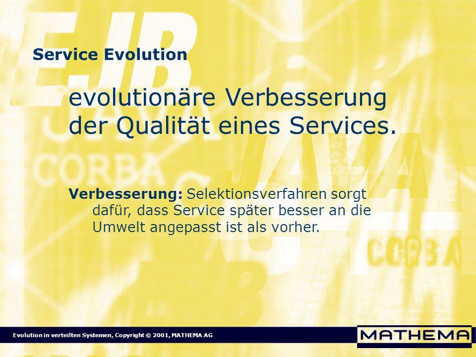 Evolution in verteilten Systemen, Copyright © 2001, MATHEMA AG Service Evolution evolutionäre Verbesserung der Qualität eines Services. Verbesserung: