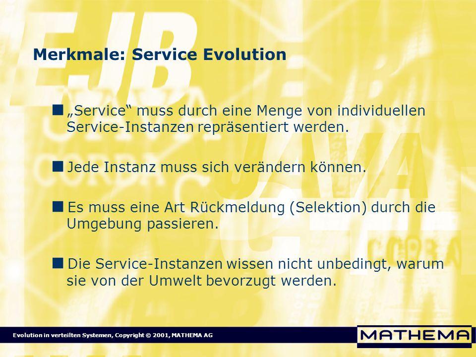 Evolution in verteilten Systemen, Copyright © 2001, MATHEMA AG Merkmale: Service Evolution Service muss durch eine Menge von individuellen Service-Ins