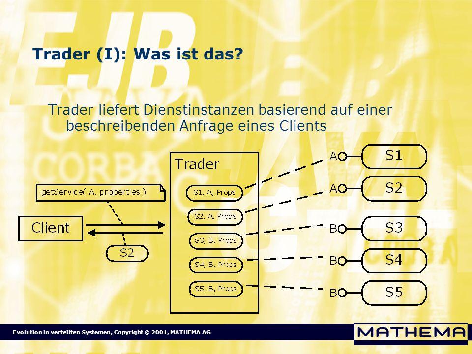 Evolution in verteilten Systemen, Copyright © 2001, MATHEMA AG Trader (I): Was ist das? Trader liefert Dienstinstanzen basierend auf einer beschreiben