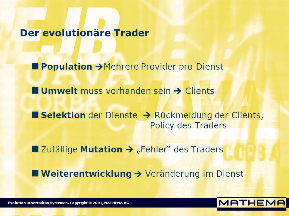 Evolution in verteilten Systemen, Copyright © 2001, MATHEMA AG Der evolutionäre Trader Population Mehrere Provider pro Dienst Umwelt muss vorhanden se