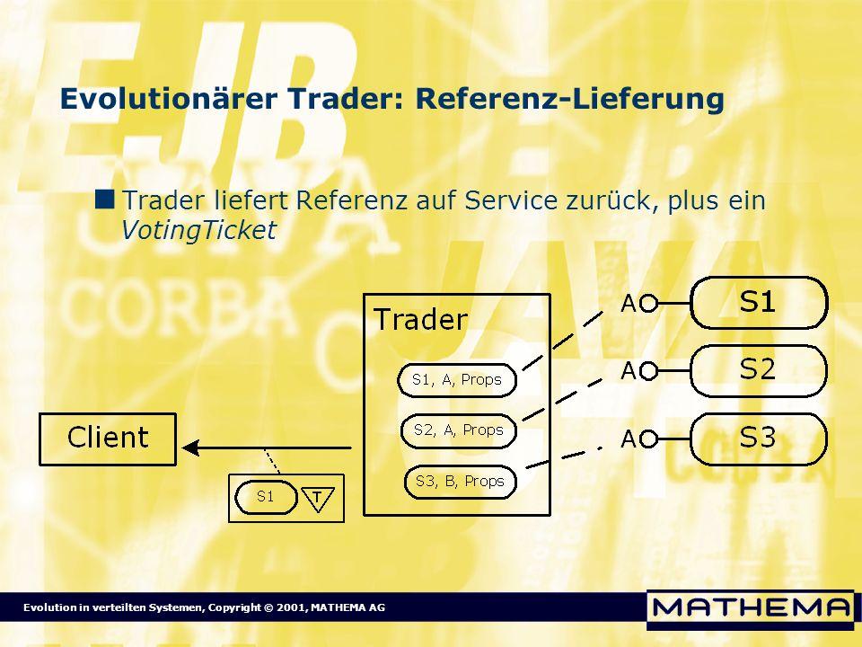 Evolution in verteilten Systemen, Copyright © 2001, MATHEMA AG Evolutionärer Trader: Referenz-Lieferung Trader liefert Referenz auf Service zurück, pl