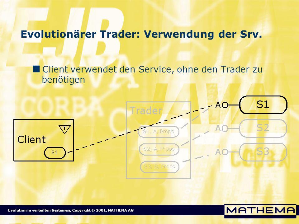 Evolution in verteilten Systemen, Copyright © 2001, MATHEMA AG Evolutionärer Trader: Verwendung der Srv. Client verwendet den Service, ohne den Trader