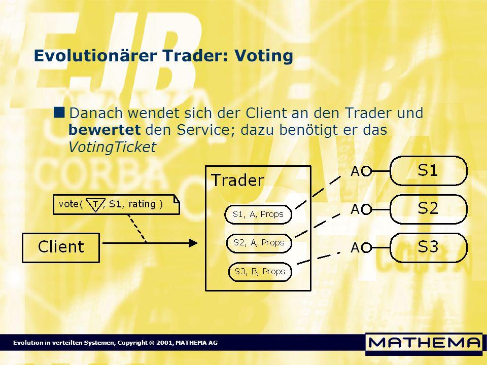 Evolution in verteilten Systemen, Copyright © 2001, MATHEMA AG Evolutionärer Trader: Voting Danach wendet sich der Client an den Trader und bewertet d