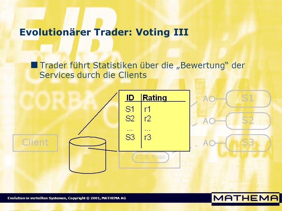 Evolution in verteilten Systemen, Copyright © 2001, MATHEMA AG Evolutionärer Trader: Voting III Trader führt Statistiken über die Bewertung der Servic