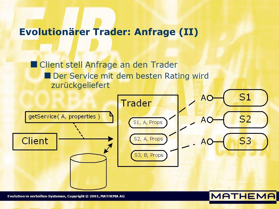 Evolution in verteilten Systemen, Copyright © 2001, MATHEMA AG Evolutionärer Trader: Anfrage (II) Client stell Anfrage an den Trader Der Service mit d