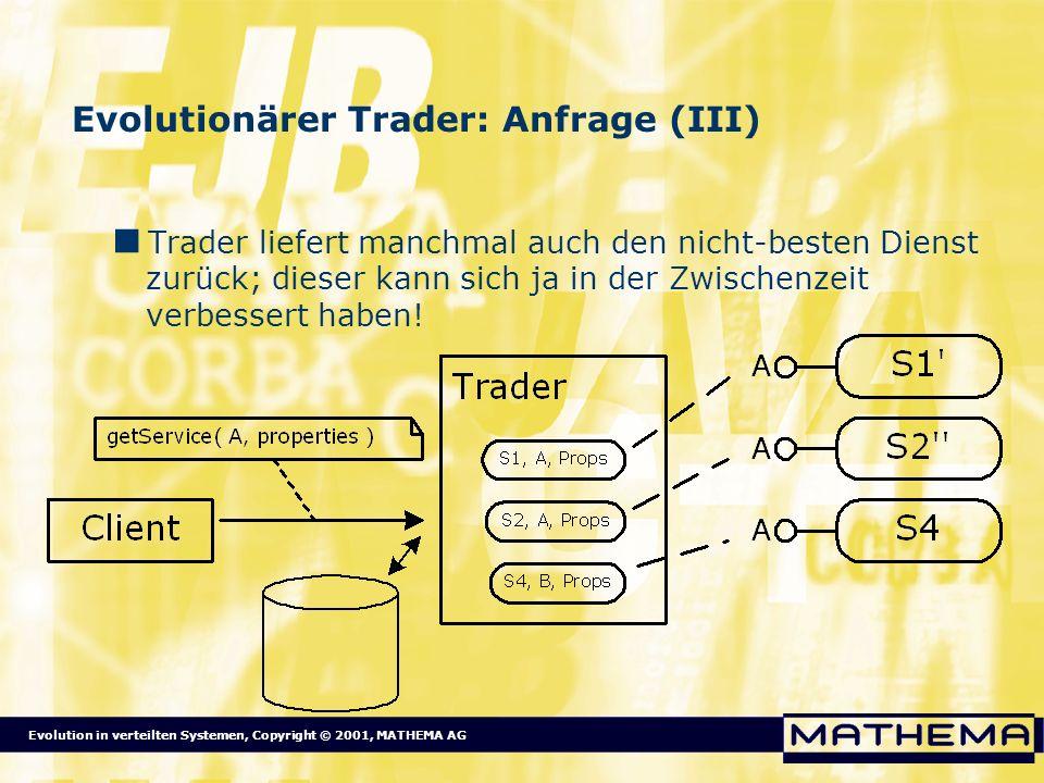 Evolution in verteilten Systemen, Copyright © 2001, MATHEMA AG Evolutionärer Trader: Anfrage (III) Trader liefert manchmal auch den nicht-besten Diens
