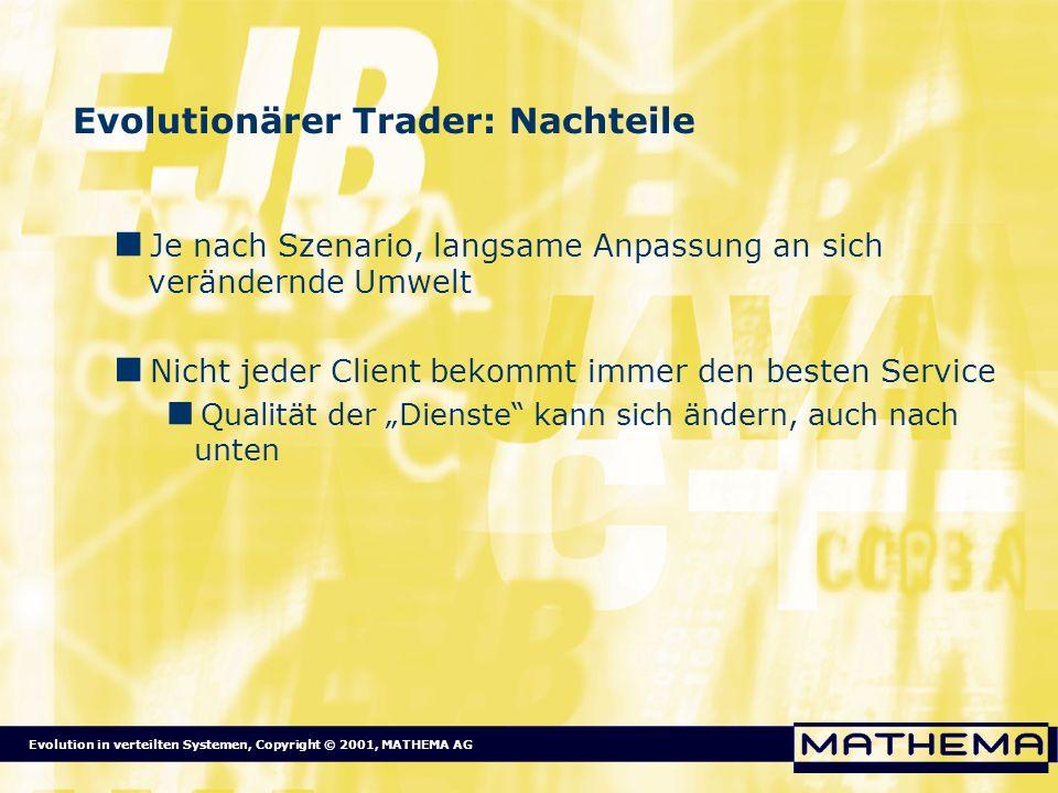 Evolution in verteilten Systemen, Copyright © 2001, MATHEMA AG Evolutionärer Trader: Nachteile Je nach Szenario, langsame Anpassung an sich verändernd