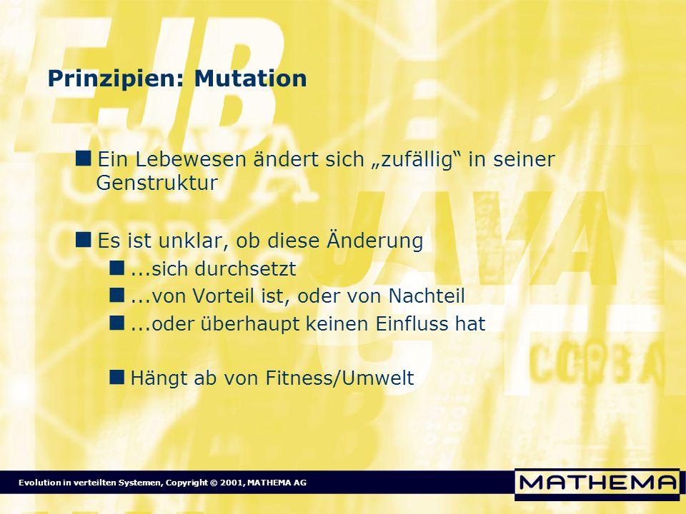Evolution in verteilten Systemen, Copyright © 2001, MATHEMA AG Prinzipien: Mutation Ein Lebewesen ändert sich zufällig in seiner Genstruktur Es ist un