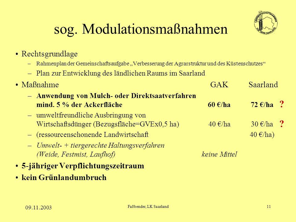 09.11.2003 Faßbender, LK Saarland11 sog. Modulationsmaßnahmen Rechtsgrundlage –Rahmenplan der Gemeinschaftsaufgabe Verbesserung der Agrarstruktur und