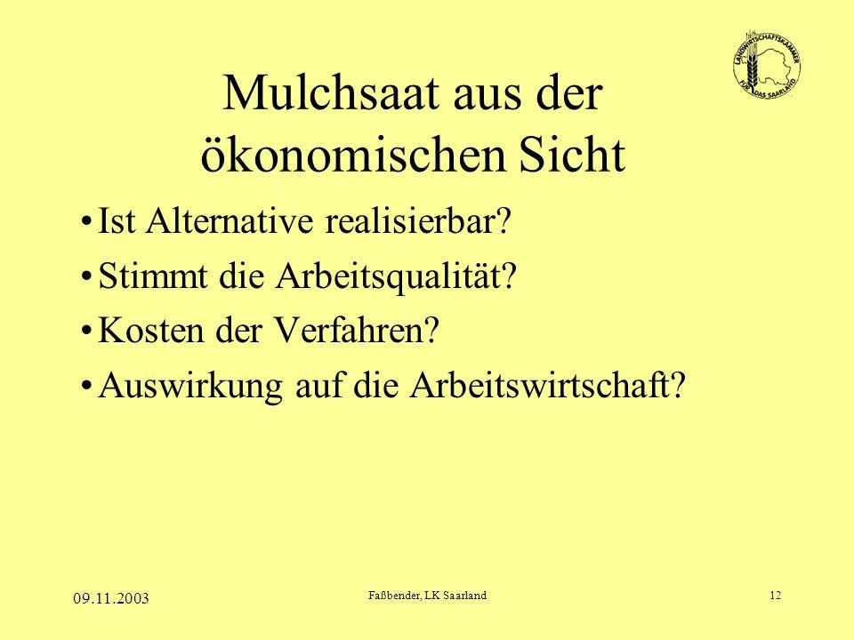 09.11.2003 Faßbender, LK Saarland12 Mulchsaat aus der ökonomischen Sicht Ist Alternative realisierbar? Stimmt die Arbeitsqualität? Kosten der Verfahre