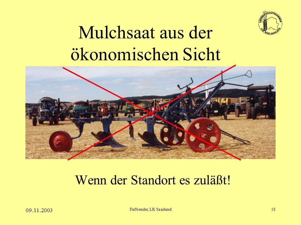 09.11.2003 Faßbender, LK Saarland18 Mulchsaat aus der ökonomischen Sicht Wenn der Standort es zuläßt!