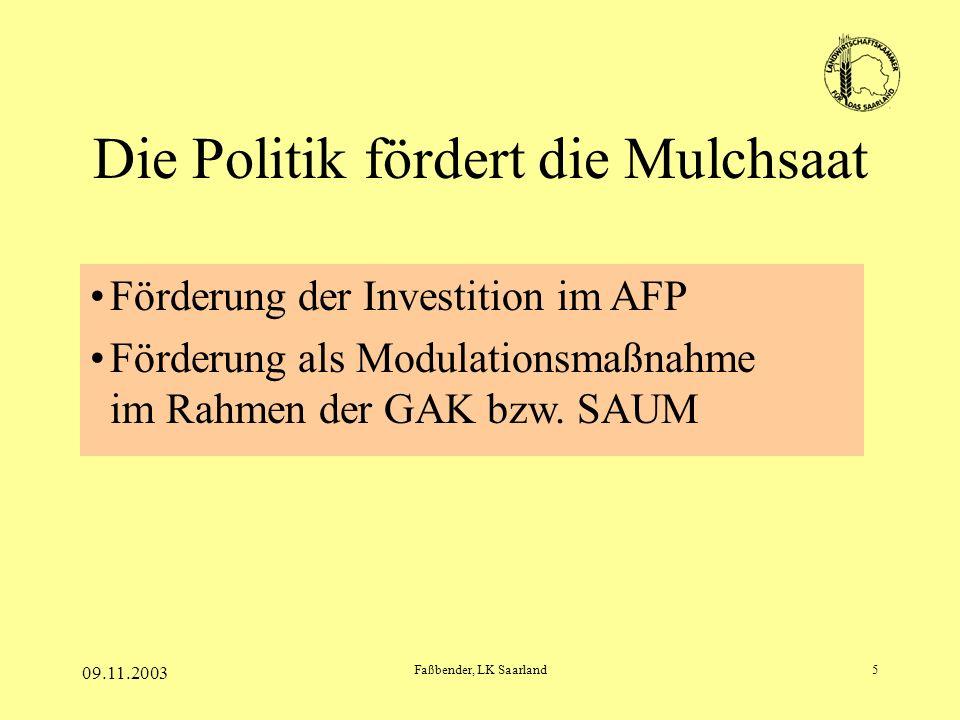 09.11.2003 Faßbender, LK Saarland5 Die Politik fördert die Mulchsaat Förderung der Investition im AFP Förderung als Modulationsmaßnahme im Rahmen der GAK bzw.