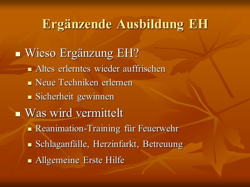 Ergänzende Ausbildung EH Ausbildungen 2011 Ausbildungen 2011 40 Schulungen 40 Schulungen Ca.
