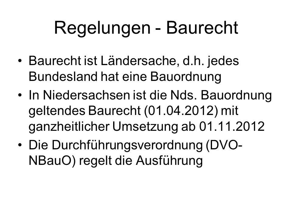 Regelungen - Baurecht Baurecht ist Ländersache, d.h. jedes Bundesland hat eine Bauordnung In Niedersachsen ist die Nds. Bauordnung geltendes Baurecht