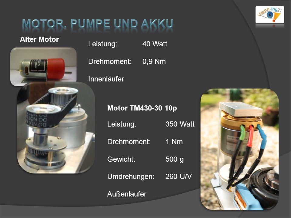 Alter Motor Leistung: 40 Watt Drehmoment: 0,9 Nm Innenläufer Leistung: 350 Watt Drehmoment: 1 Nm Gewicht:500 g Umdrehungen:260 U/V Außenläufer Motor TM430-30 10p