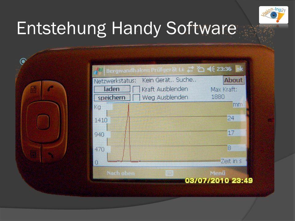 Entstehung Handy Software Spezielle features: Graph mit Autozoom Kraft/Weg ausblenden Max Kraft anzeigen