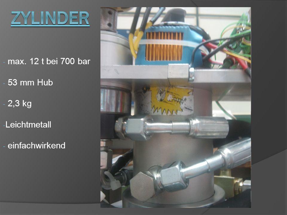 - max. 12 t bei 700 bar - 53 mm Hub - 2,3 kg - Leichtmetall - einfachwirkend