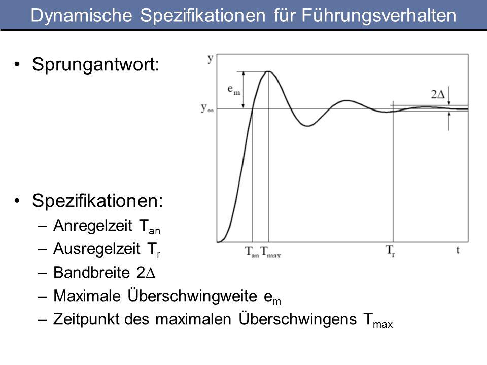 Dynamische Spezifikationen für Führungsverhalten Sprungantwort: Spezifikationen: –Anregelzeit T an –Ausregelzeit T r –Bandbreite 2 –Maximale Überschwingweite e m –Zeitpunkt des maximalen Überschwingens T max