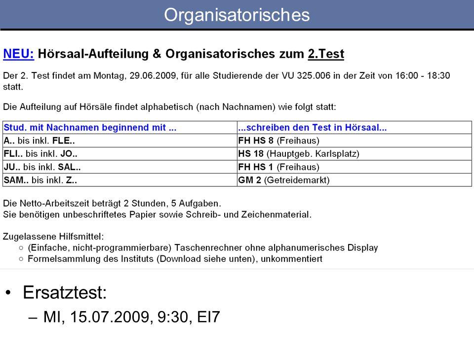 Organisatorisches Ersatztest: –MI, 15.07.2009, 9:30, EI7