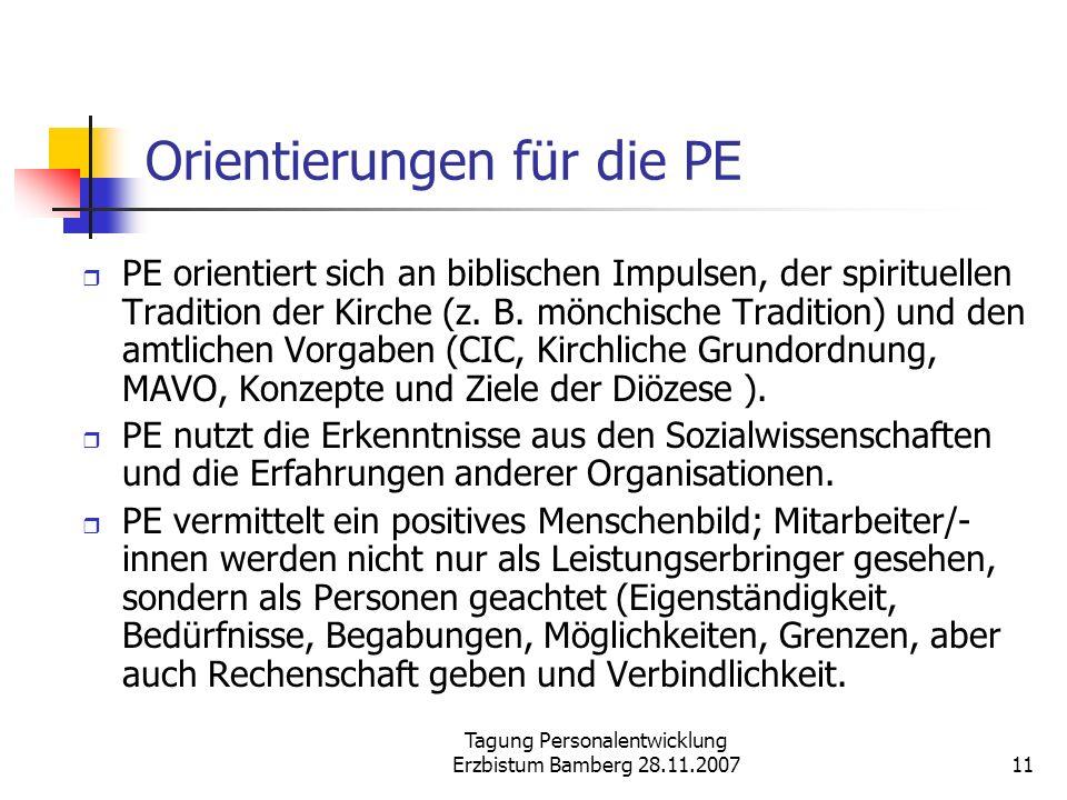 Tagung Personalentwicklung Erzbistum Bamberg 28.11.200711 Orientierungen für die PE PE orientiert sich an biblischen Impulsen, der spirituellen Tradit