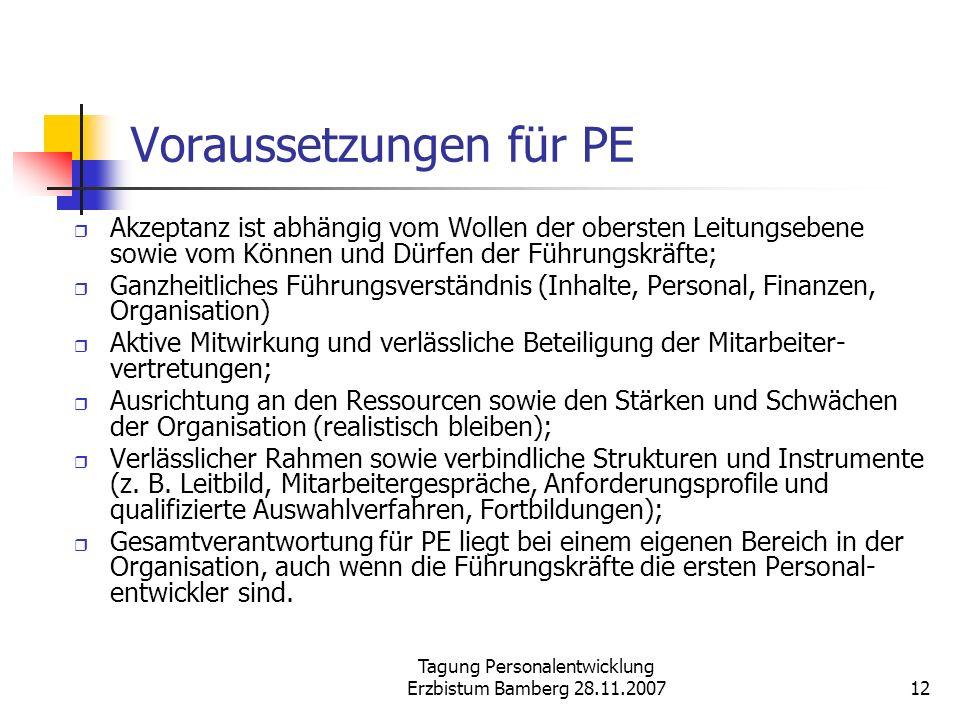 Tagung Personalentwicklung Erzbistum Bamberg 28.11.200712 Voraussetzungen für PE Akzeptanz ist abhängig vom Wollen der obersten Leitungsebene sowie vo