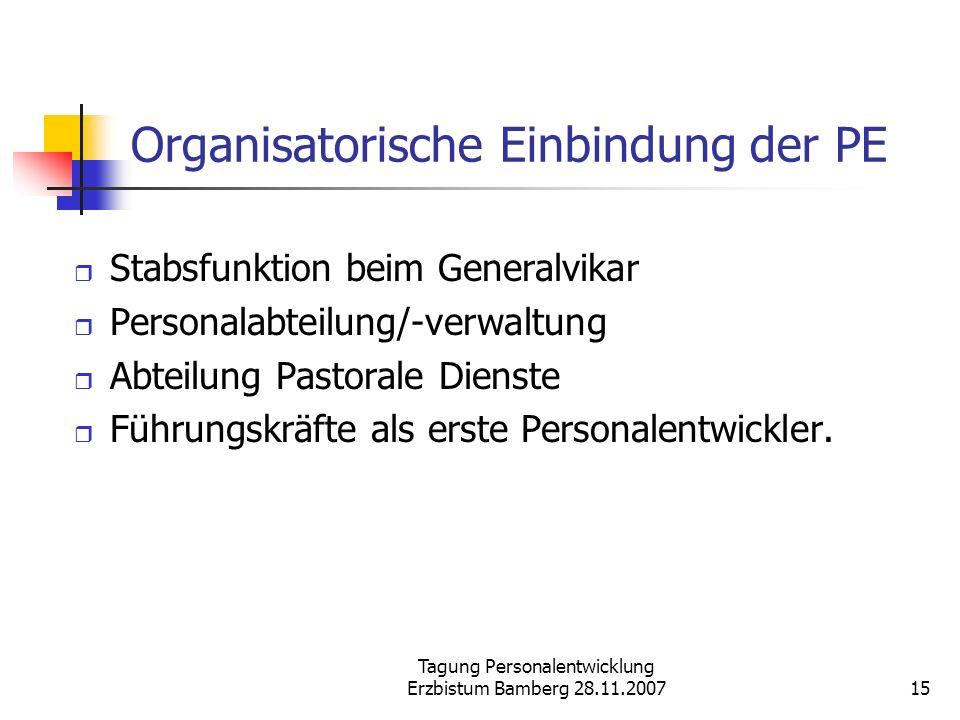 Tagung Personalentwicklung Erzbistum Bamberg 28.11.200715 Organisatorische Einbindung der PE Stabsfunktion beim Generalvikar Personalabteilung/-verwal