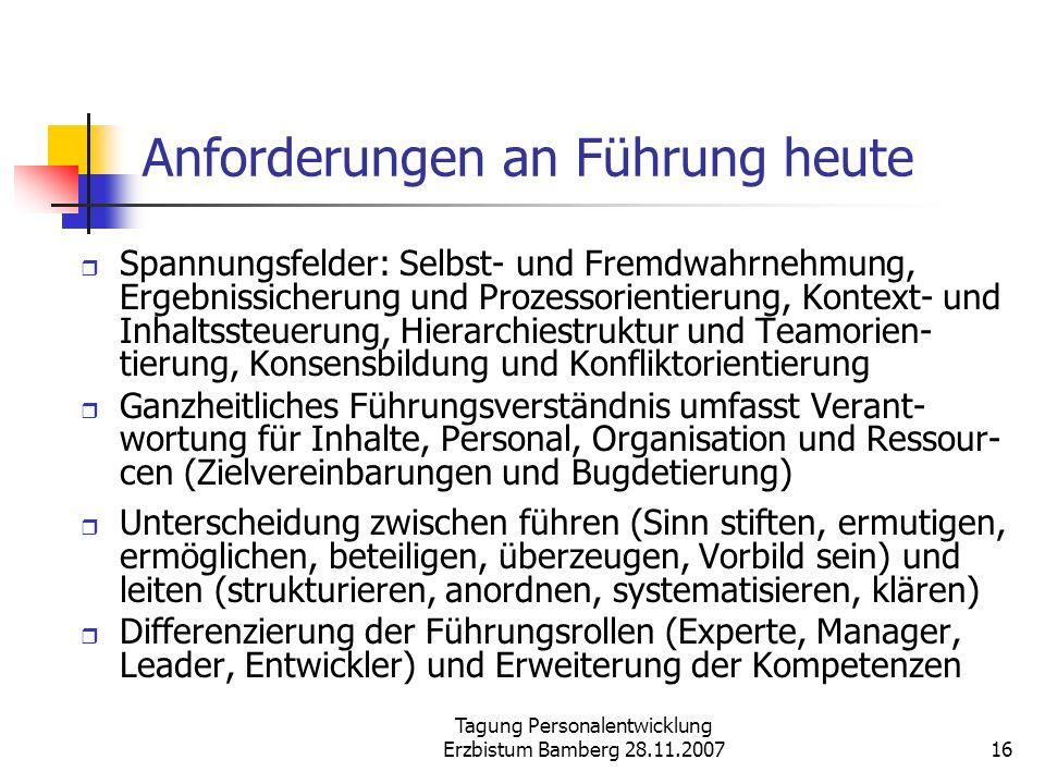 Tagung Personalentwicklung Erzbistum Bamberg 28.11.200716 Anforderungen an Führung heute Spannungsfelder: Selbst- und Fremdwahrnehmung, Ergebnissicher