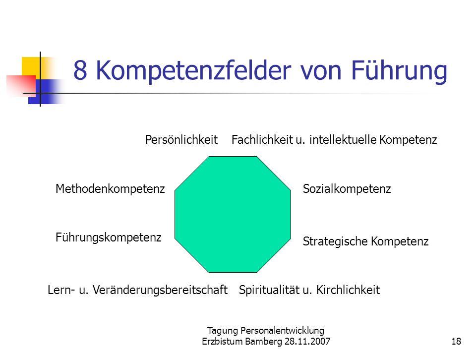 Tagung Personalentwicklung Erzbistum Bamberg 28.11.200718 8 Kompetenzfelder von Führung Führungskompetenz Fachlichkeit u. intellektuelle Kompetenz Soz