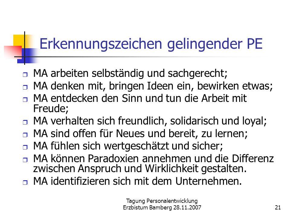 Tagung Personalentwicklung Erzbistum Bamberg 28.11.200721 Erkennungszeichen gelingender PE MA arbeiten selbständig und sachgerecht; MA denken mit, bri