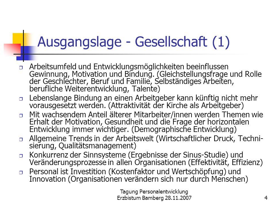 Tagung Personalentwicklung Erzbistum Bamberg 28.11.20074 Ausgangslage - Gesellschaft (1) Arbeitsumfeld und Entwicklungsmöglichkeiten beeinflussen Gewi