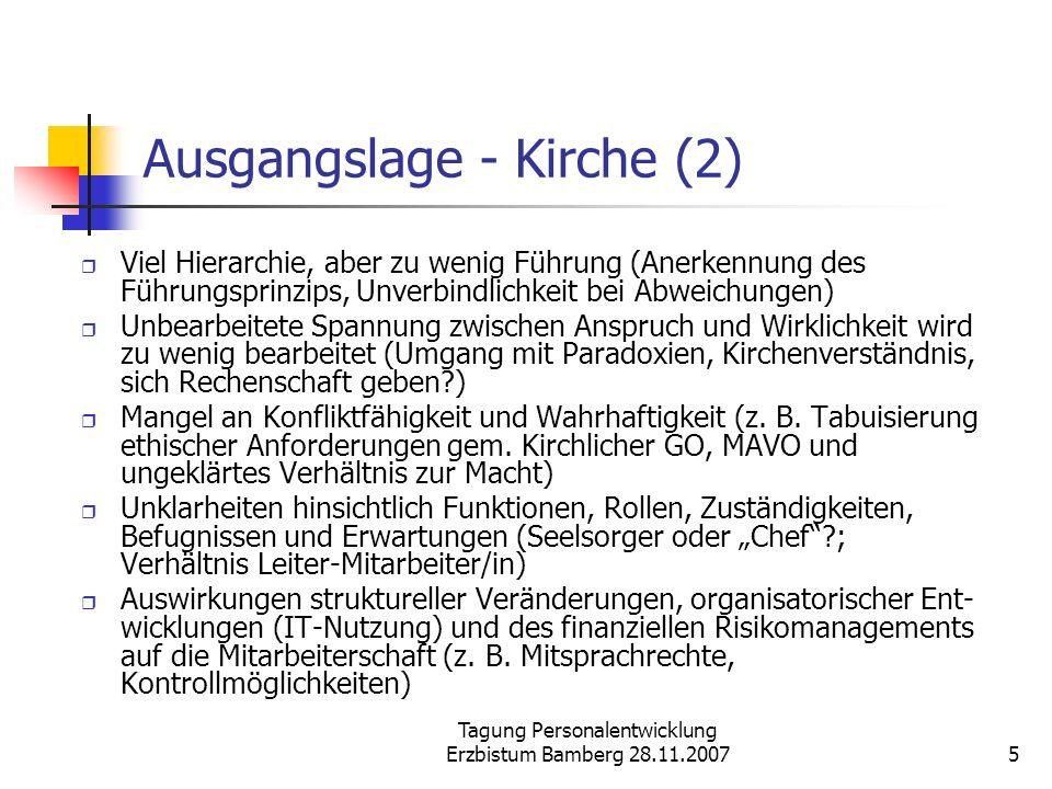 Tagung Personalentwicklung Erzbistum Bamberg 28.11.20075 Ausgangslage - Kirche (2) Viel Hierarchie, aber zu wenig Führung (Anerkennung des Führungspri