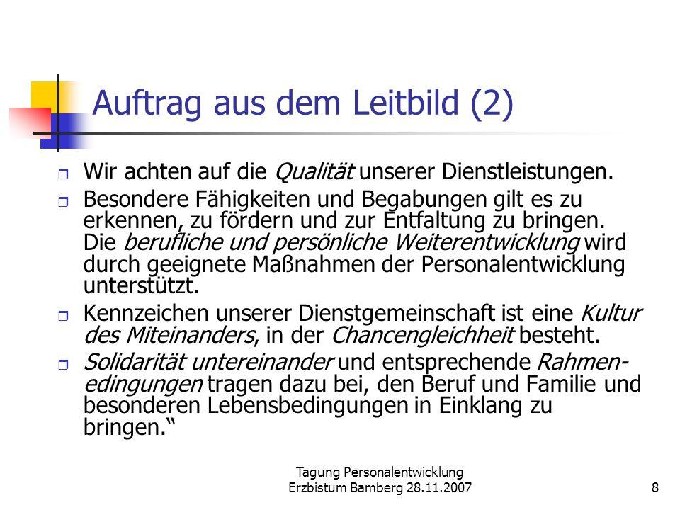 Tagung Personalentwicklung Erzbistum Bamberg 28.11.20078 Auftrag aus dem Leitbild (2) Wir achten auf die Qualität unserer Dienstleistungen. Besondere
