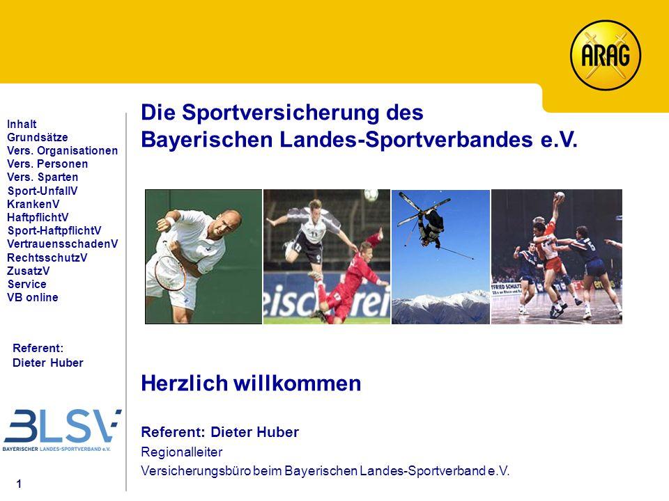 1 Referent: Dieter Huber Inhalt Grundsätze Vers. Organisationen Vers.