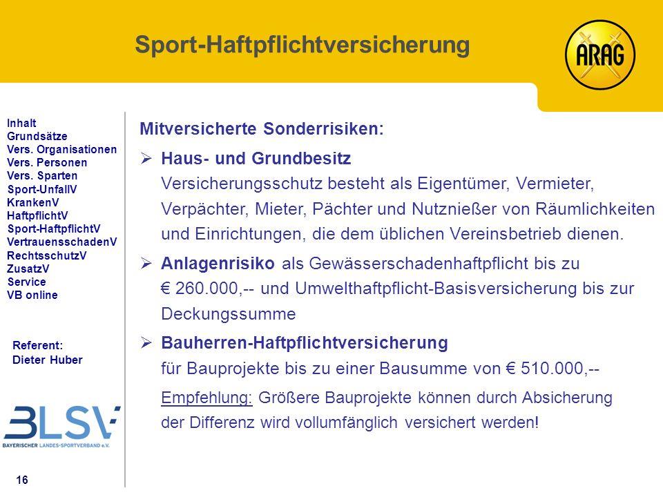 16 Referent: Dieter Huber Inhalt Grundsätze Vers. Organisationen Vers.