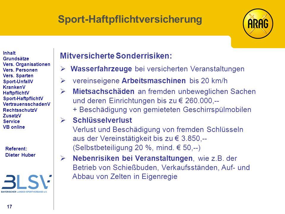 17 Referent: Dieter Huber Inhalt Grundsätze Vers. Organisationen Vers.