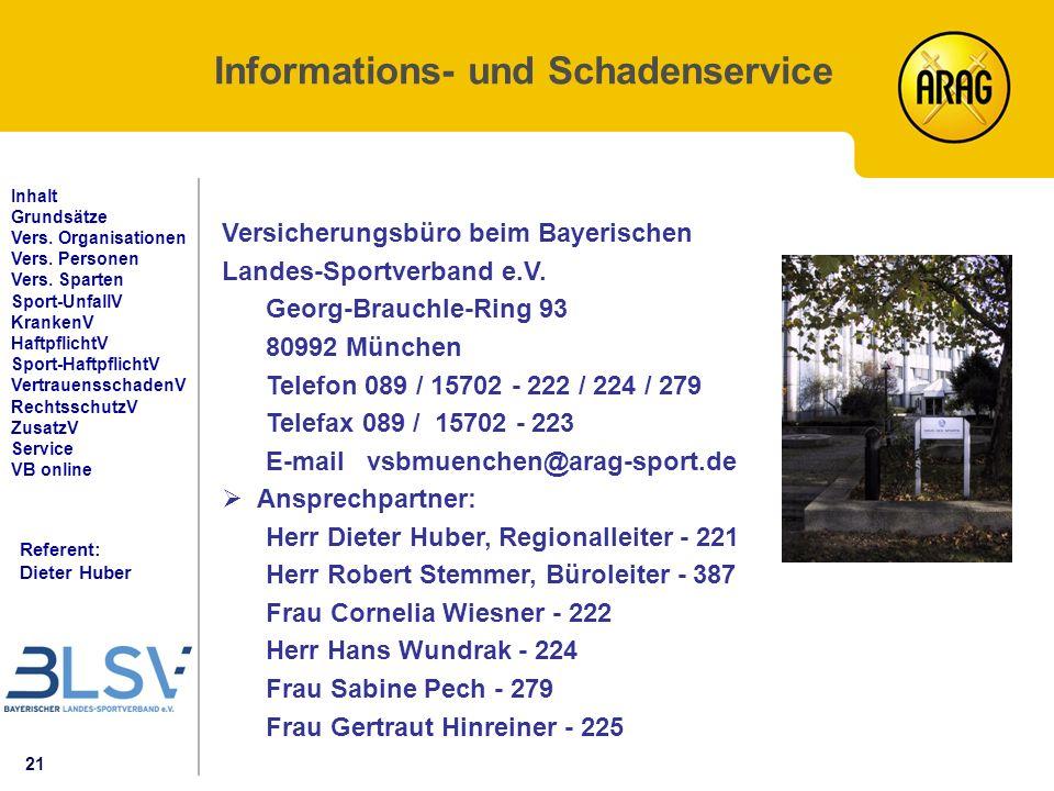 21 Referent: Dieter Huber Inhalt Grundsätze Vers. Organisationen Vers.