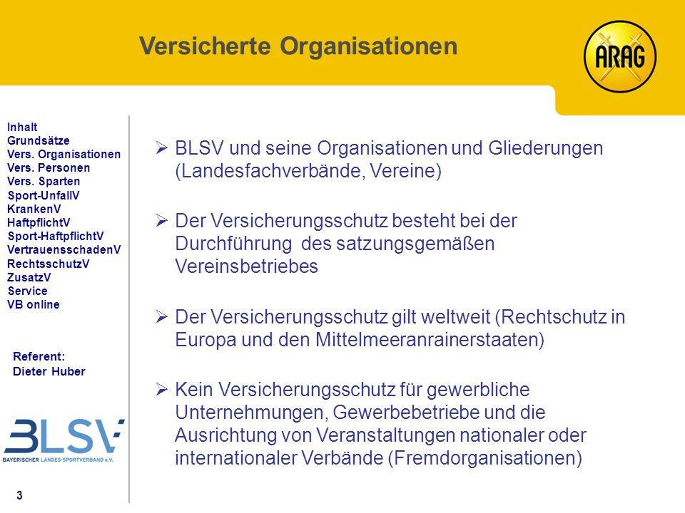3 Referent: Dieter Huber Inhalt Grundsätze Vers. Organisationen Vers.