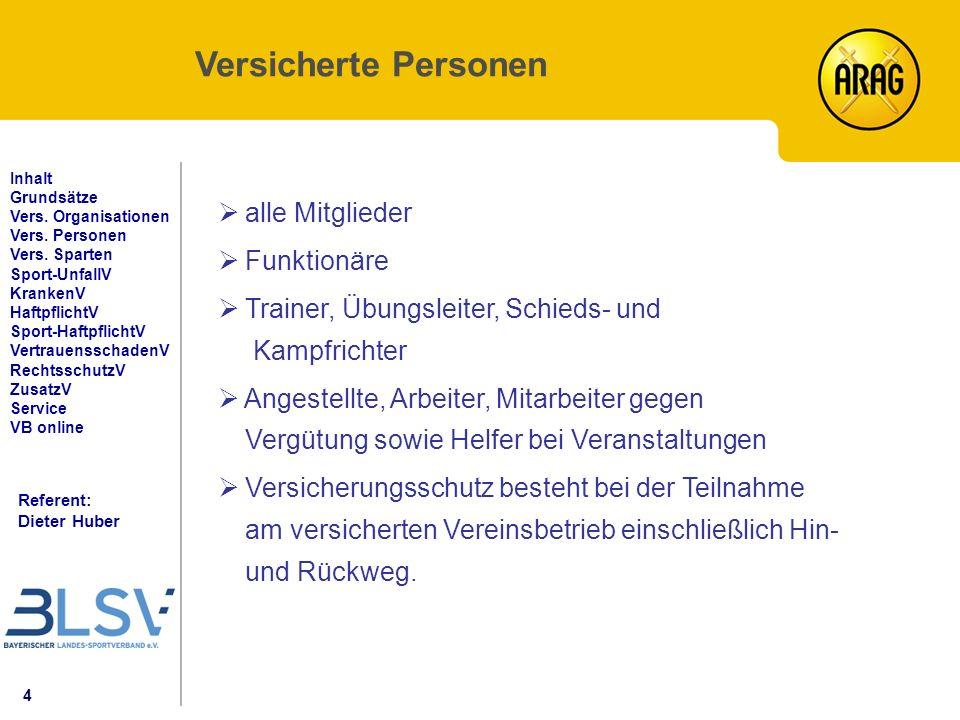 4 Referent: Dieter Huber Inhalt Grundsätze Vers. Organisationen Vers.