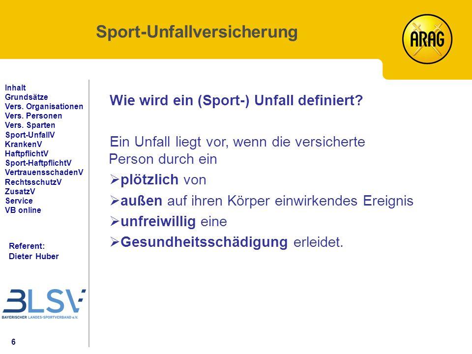 17 Referent: Dieter Huber Inhalt Grundsätze Vers.Organisationen Vers.